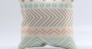Aztec throw pillow, throw pillow, modern pillow, blue, turquoise, coral, aztec, ...