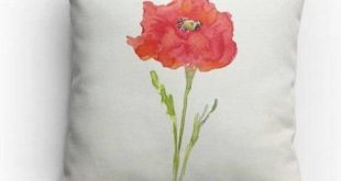 Decorative Throw Pillow,14x14 in, 18x18 in, Watercolor Poppy Design, with Pillow Insert, Dorm Room, Bedroom, Insert Included