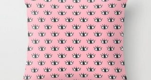 Eye Pillow Pink Throw Pillow Teen Girls Bedroom Apartment Dorm Room Eyelash Pillow Evil Eve Decor Fa