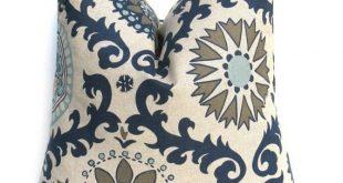 NAVY PILLOW Blue Tan Pillow Cover Decorative Pillow Covers - Damask - Pillow Sham Dark Blue Cream. Cushion Cover Paisley