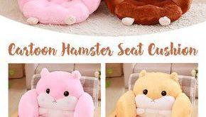【49% off】Cartoon Hamster Seat Cushion Pillow Kawaii Plush Home Office Waist ...