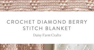 Free Pattern - Crochet Diamond Berry Stitch Blanket #crochet