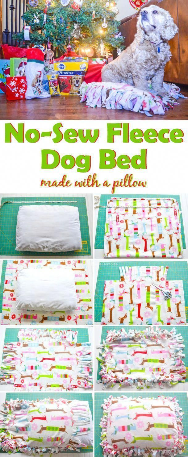 No Sew Fleece Dog Bed A Fun And Easy Tutorial For Creating An Inexpensive Dog 2019 Pillow Diy
