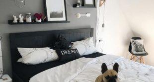 Schlafzimmer Wandgestaltung - graue Wand - schwarzes Bett - Schlafzimmerideen - ...