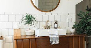 Badezimmer Dekor Mitte des Jahrhunderts modernen Stil, Bad Inspiration Vintage, Bade … #WoodWorking