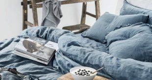 Bettwäsche Bettwäsche SET in Grey Blue. Bettbezug aus Leinen 2