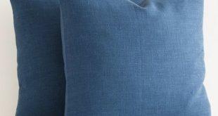 Custom Blue Linen Pillow 16 x 16 Blue Throw Pillows Navy Blue Decorative Pillow Covers Dark Blue Throw Pillow Covers. Euro Shams
