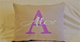 Girls Name Pillow Monogrammed Personalized Gift for Teens Tweens Room Decor pillow cover dorm room name letter bedroom bed purple