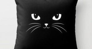 Niedliches schwarze Katzen-Wurfs-Kissen durch Badbugs_art - #Badbugsart #durch #...