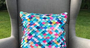 layered Mermaid scale pillow for nursery